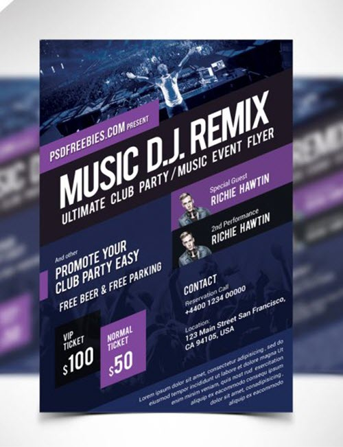 45 Premium and Free Concert Flyer PSD Templates for Music