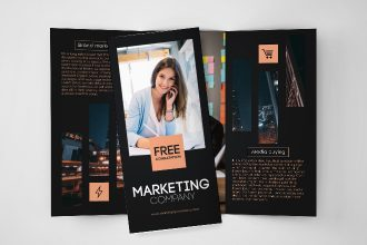 Free Marketing Company Tri-Fold Brochure in PSD