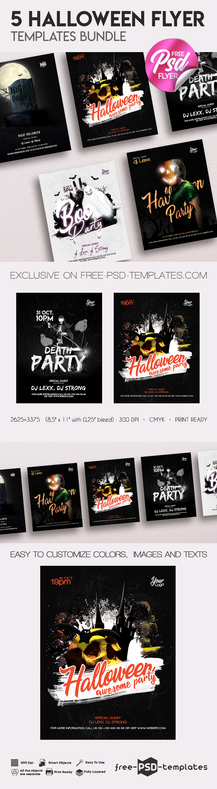 5 Free Halloween Flyer Templates Bundle In Psd Free Psd Templates