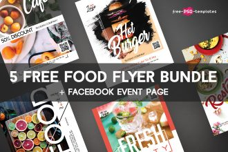 5 Free Food Flyer Bundle in PSD