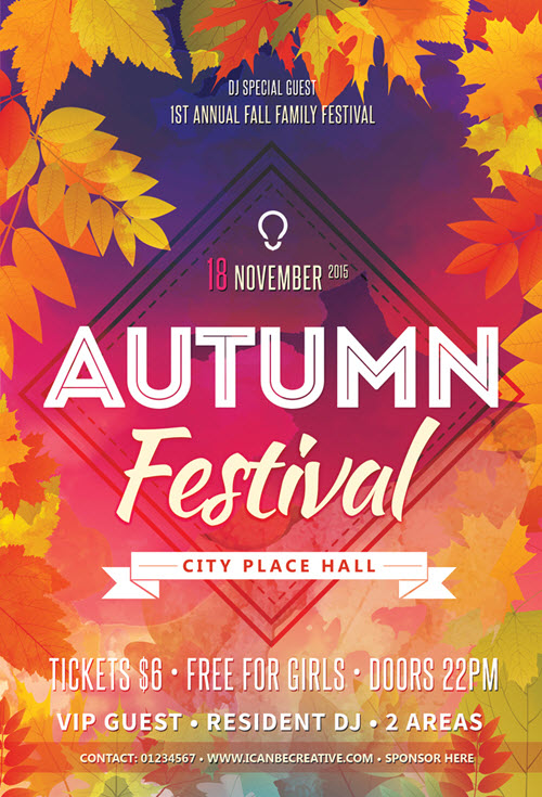 Sizzling image for free printable fall festival flyer templates