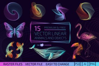 Free Vector Linear Animals and Objects + Premium Version