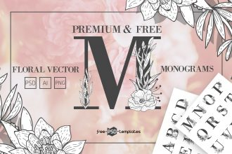 Free Floral Vector Monograms + Premium Version