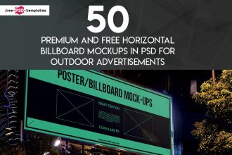 50 Premium and Free Horizontal Billboard Mockups in PSD for Outdoor Advertisements