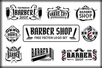 Free Barber Shop Vector Logo Set