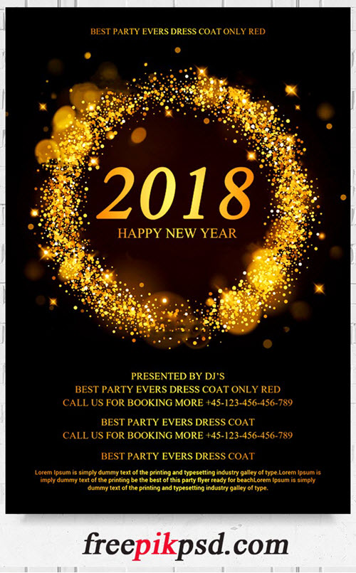free 2018 new year flyer psd template