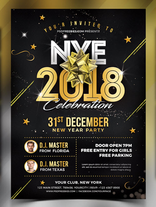 45+ Premium and Free New Year's Eve Flyer PSD Templates for