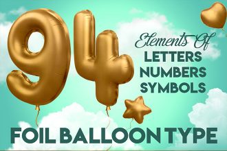 3D ALPHABET FOIL BALLOON IN PSD + Premium Version