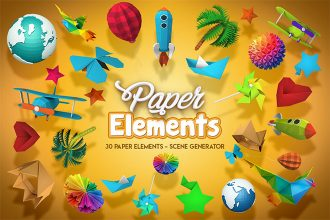 Isolated 3D Paper Objects – Scene Generator + Premium Version