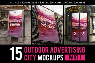 Free Outdoor Advertising City MockUps part 1 + Premium Version