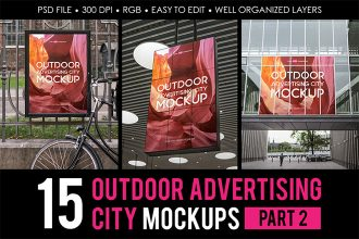 Free Outdoor Advertising City MockUps part 2 + Premium Version