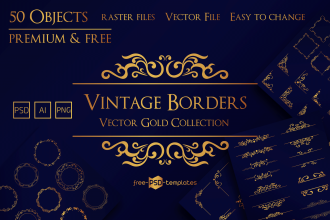 Free Vector Gold Vintage Borders Collection + Premium Version