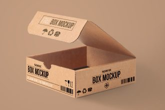 Free Carton PSD Packing Box Mockup