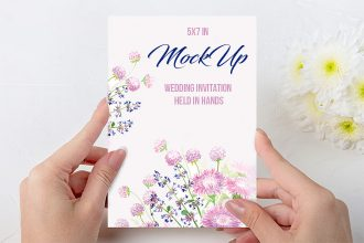 Free Wedding Invitation held in Hands Mock-up in PSD