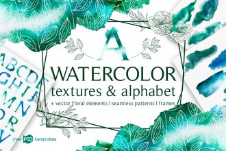 Free Watercolor Textures and Alphabet + Premium Version