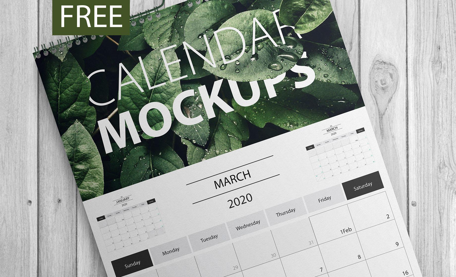 Calendar 2020 Psd 40+Premium and Free PSD Calendar Templates & Mockups to create the