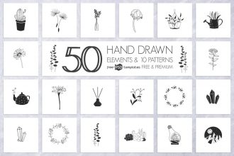 Free Hand Drawn Elements and Patterns + Premium Version