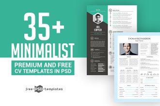 35+ Minimalist Premium & Free CV Templates in PSD