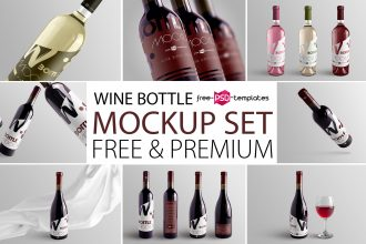 Free Wine Bottle Mockup Set + Premium Version