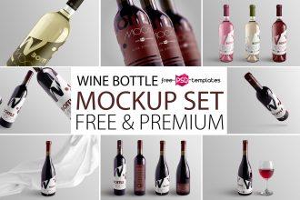 Free Wine Bottle Mockup Set + Premium Version