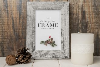Free Wood Photo Frame Mockup PSD
