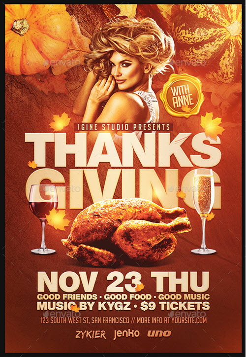 Thanksgiving Party Flyer Template 3