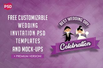 Collection of Free Customizable Wedding Invitation PSD Templates and Mock-ups + Premium Version!