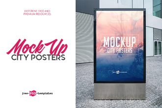 3 Free City Posters Mock-ups in PSD