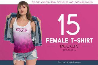Free Female T-Shirt MockUps + Premium Version