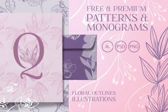 Free Floral Patterns and Monograms + Premium Version