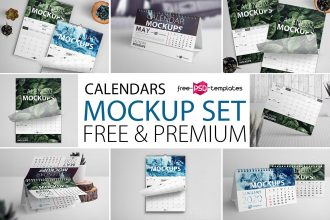 Free Calendar Mockup Set + Premium Version