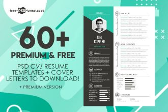 60+PREMIUM & FREE PSD CV/ RESUME TEMPLATES + COVER LETTERS TO DOWNLOAD!