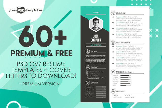60 PREMIUM FREE PSD CV RESUME TEMPLATES COVER LETTERS TO DOWNLOAD