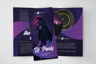 Free DJ Party Tri-Fold Brochure in PSD