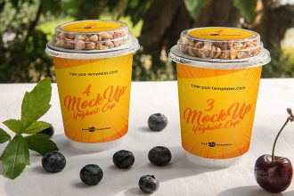 2 Free Yoghurt Cup Mock-ups in PSD