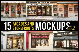 Free Facades and StoreFronts V02 MockUps + Premium Version