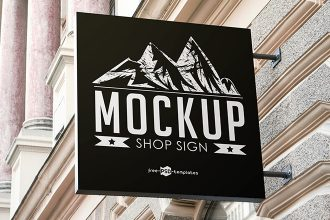 Free Shop Sign Mock-up in PSD
