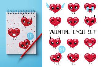 Free Valentine Emoji Set