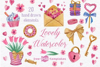 Free Lovely Watercolor Elements