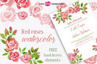 Free Watercolor Red Roses