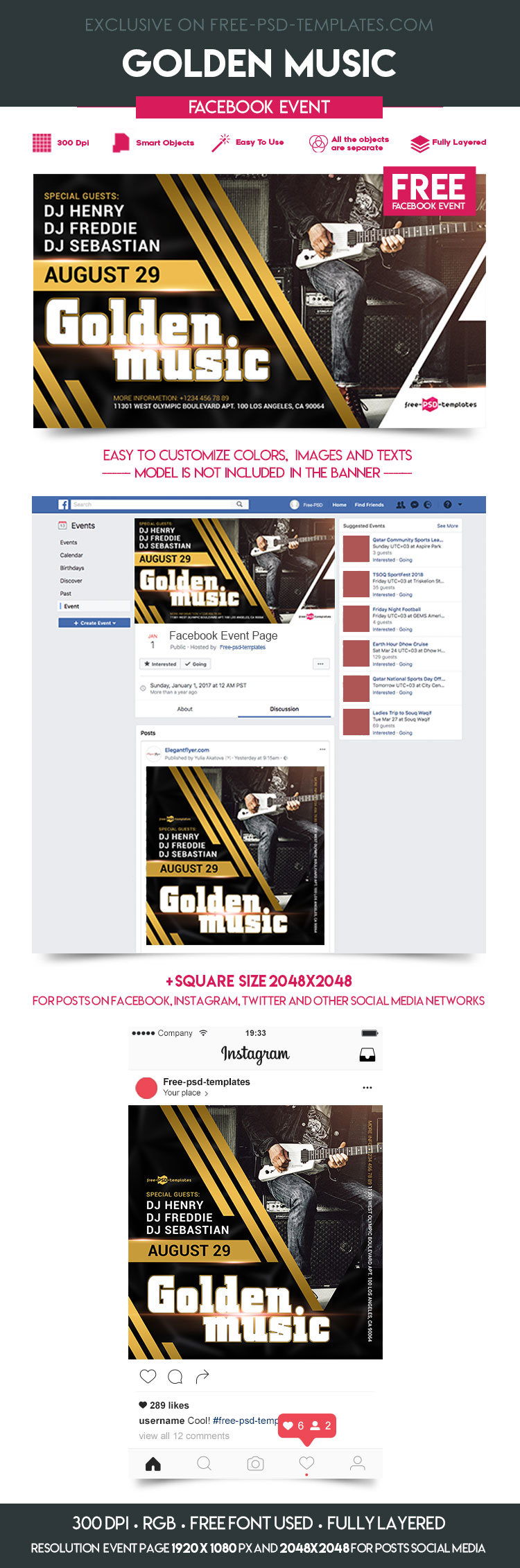 Free Golden Music Facebook Event Page | Free PSD Templates