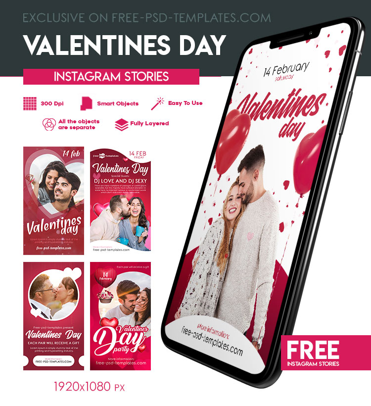 5 Free Animated Valentines Day Instagram Stories in PSD