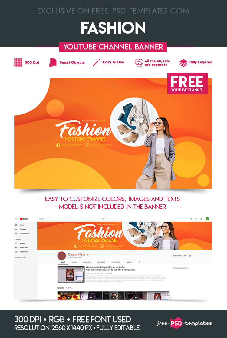 Free Fashion YouTube Channel Banner | Free PSD Templates