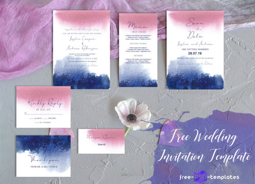 Free Wedding Watercolor Blur Invitation set