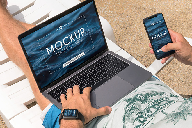 3 Free MacBook Pro / iPhone XS / Apple Watch Mock-ups in PSD