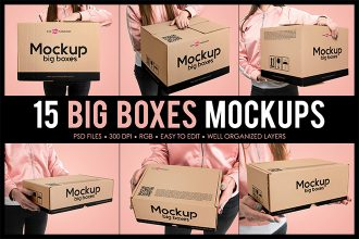 Free Big Boxes MockUps + Premium Version