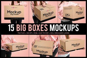 Free Big Boxes MockUps + Premium Version