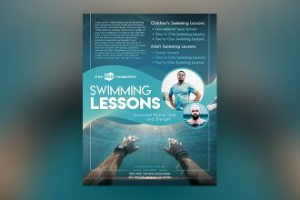 Free Swimming Lessons Flyer in PSD