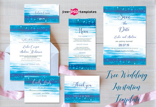 Free Wedding Invitation Template Sea set