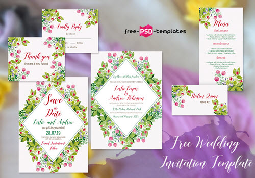 Free Wedding Invitation with Wildflowers